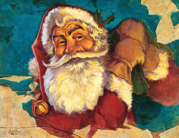 Antique Santa Painting