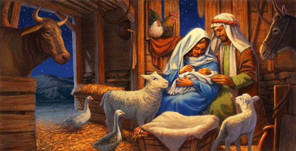 this picture is by john walker and it is of a christmas nativity scene there are geese in the stable amd that is one of the things that the artist has